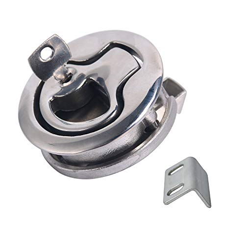 Amarine-made Boat Marine 2 Locking Stainless Steel Flush Pull Slam Latch Hatch Lift 2d with Key (A, 2)