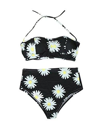 Elegant cuello cuello Margarita de las mujeres impreso en playa Bikini