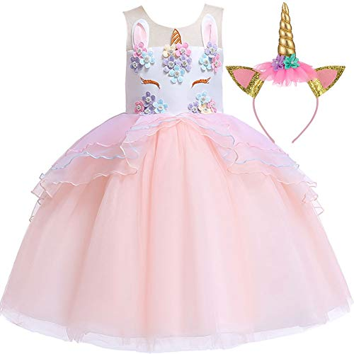 Little Girls Unicorn Costumes Clothes Toddler Unicornio Princess Party Dress 4t -