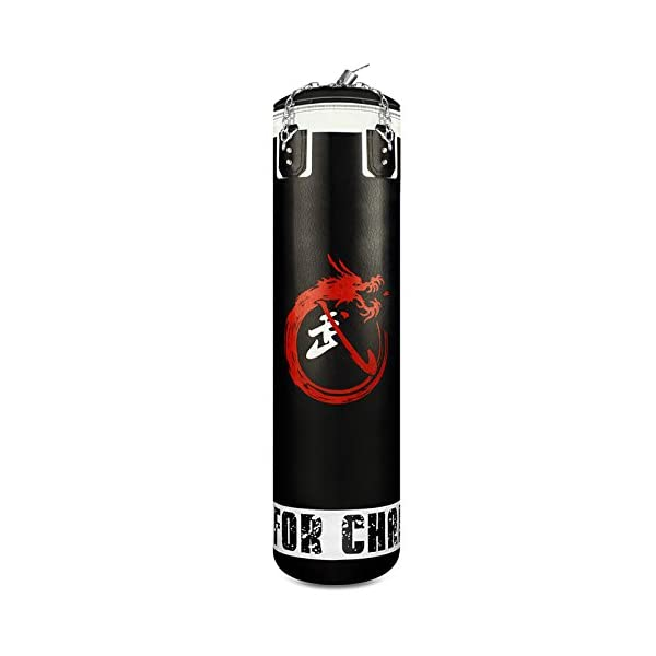 Flexzion Heavy Punching Bag MMA Boxing Kickboxing Workout Training Exercise Practice Gear Empty with Rotating Chains for Adults Men Women Black 1