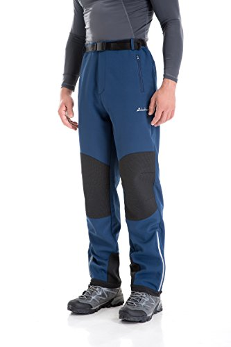 Clothin Men's Fleece-Lined Soft Shell Winter Pants - Ski Snow Insulated, Water and Wind-Resistant(Blue,L)
