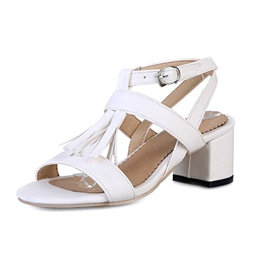 SJJH Sandals with Chunky Heel and Tassels Large Size 0-11 UK Comfortable Women Sandal Shoes White
