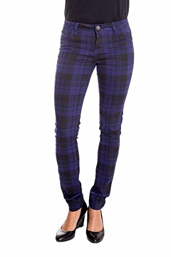 Suko Jeans Women's Stretchy Plaid Skinny Pants Jeggings 17232 Navy/Black 15 (Womens Plaid Pants)