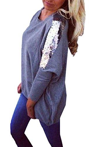 Col Casual pissure Printemps Paillettes Rond Fashion Tops Shirts T New Femmes Fonc et Hauts Longue Sweat Jumpers Longues Tunique Pulls Shirt Chemisier Gris Automne Manches Z0nfwqaY