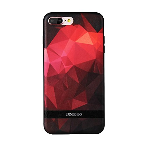 MXNET IPhone 7 Plus Case, TPU + PU + PC Unregelmäßiger Rhombus Texture Combination Schutzhülle CASE FÜR IPHONE 7 PLUS ( Color : Red )