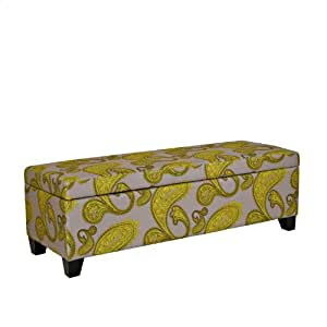 angelo:HOME Kent Storage Bench Ottoman in Modern Lemongrass Paisley