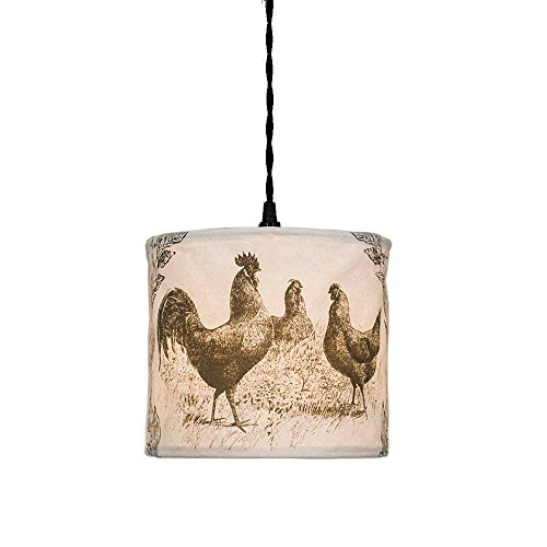 (Colonial Tin Works Vintage Canvas Pendant Lamp (Chicken), Off White)