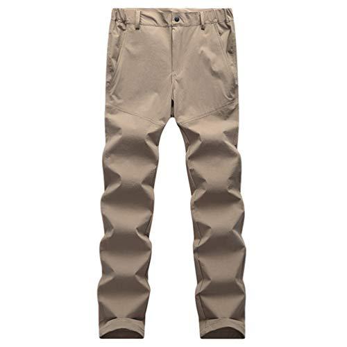 YiLianDaD Donna Asciugatura Rapida Pants Tinta Unita da Trekking Pantaloni Multifunzionali Traspiranti con Tasca Cachi