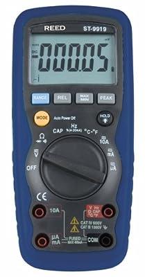 Reed ST-9919 Auto-Ranging, True RMS Digital Multimeter with Temperature Measurement, 1000V, 10A, 40 Megaohms, 40 Millifarads, 400 MHz