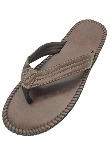 ELUNLANY Man Non-slip Beach Leather Smoothy Slippers Sandal Flipflops (9 B(M) US, brown) (Brown Thong Slippers)