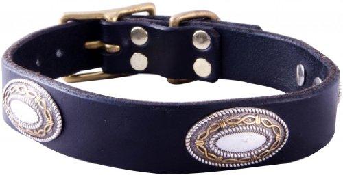 "Paco Collars - ""Cash"" - Handmade Leather Medium Dog Collar - 1""Wide - Brass - Black 20""-22"""
