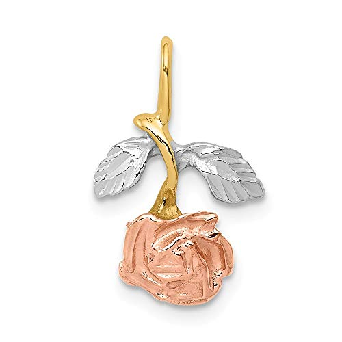 14k Yellow Gold White Rose Necklace Chain Slide Pendant Charm Flower Gardening Fine Jewelry Gifts For Women For Her