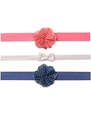 Baby-Girls Newborn 3Pk Interlock Rosette Chiffon Dot Bow Headwraps
