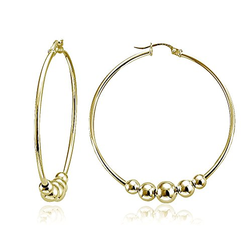 (Yellow Gold Flashed Sterling Silver Polished and Hammered Beads Round Hoop Earrings, 42mm)