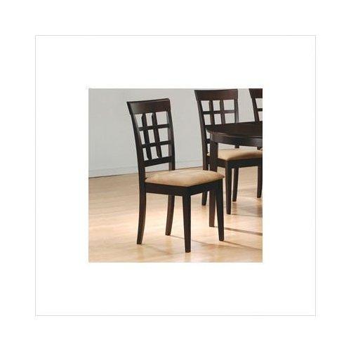 Coaster Home Furnishings Gabriel Modern Window Back Side Chair ( Set of 2 ) - Cappuccino / Tan Microfiber