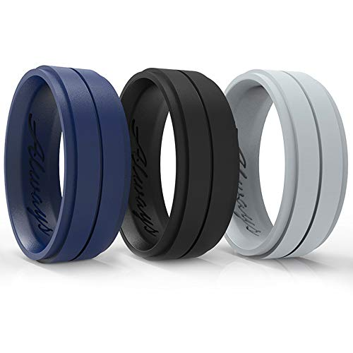 Arua Silicone Wedding Ring for Men - 3-Pack Wedding Bands. Safe and Durable Rubber Wedding Bands for Men - Black, Blue, Grey 3 Rings Set - Gift Box Included!