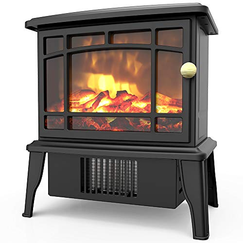 OPOLAR Mini Portable Electric Fireplace Heater, Small Desktop Space Heater with Realistic Log Fuel Effect, Space-Saving, Over-Heating Protection, A Perfect Decoration for Home Office-500W (Heater Reviews Electric Fireplace)