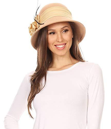 Sakkas 30041M Danielle Vintage Style Wool Cloche Hat - Beige - One Size by Sakkas