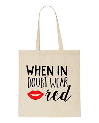 Shopper Doubt When In Wear Beige Red Tote Bag RTOqYrO5w