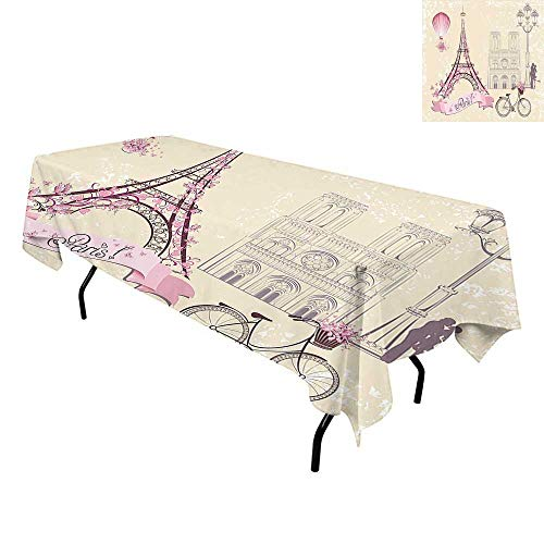 Kiss,Washable Table Cover,Floral Paris Symbols Landmarks Eiffel Tower Hot Air Balloon Bicycle Romantic Couple,Tablecloths for Parties,W54 x L72 Inch Ivory Pink -