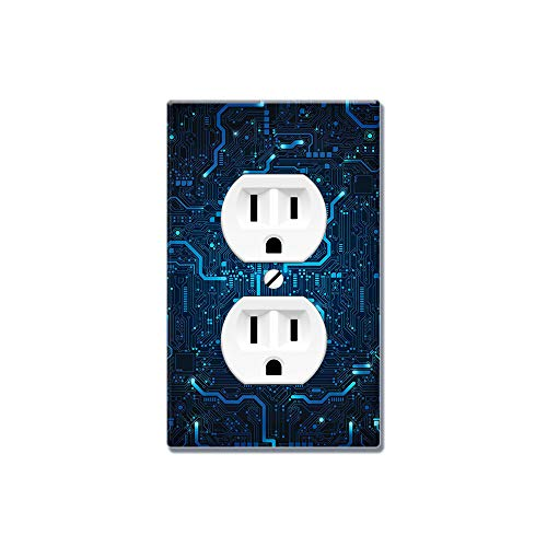 - WIRESTER Duplex Outlet Cover Wall Plate/Switch Plate - Blue Circuit Board
