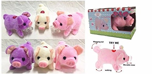 (Lvnv Toys@ Toy Pig - Battery Operated Walking & Tail Wagging Plush Pig - Colors May Vary)