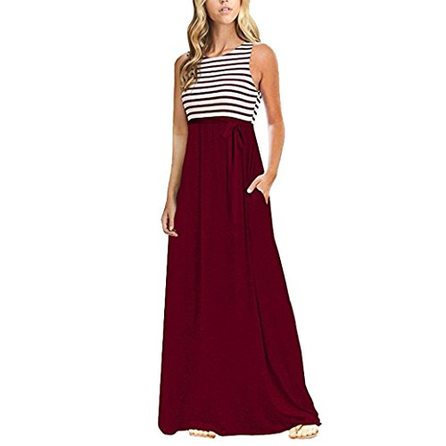 Anyren Women's Summer Casual O Neck Side Split Beach Long Split Loose Maxi Beach Dress (Wine, M) by Anyren