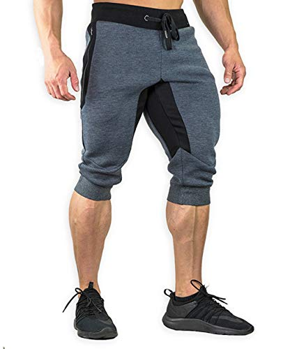 YSENTO Men's Casual Cotton Shorts 3/4 Jogger Capri Cropped Pants Below Knee Shorts with Pockets Dark Grey 38