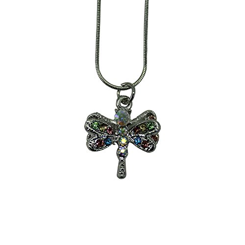 Rhinestone Firefly charm with Multicolored Gems Necklace (Firefly Charm)