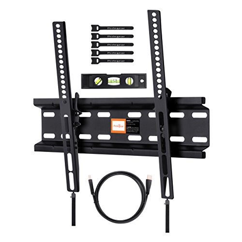 Tilting TV Wall Mount Bracket Low Profile for Most 23-55 Inch LED, LCD, OLED, Plasma Flat Screen TVs with VESA up to 400x400mm - Bonus HDMI Cable, Bubble Level and Cable Ties by PERLESMITH