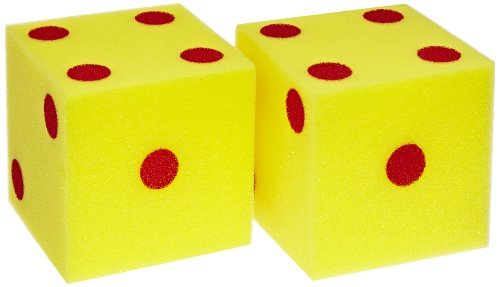 School Specialty Giant Foam Dice - 5 inches - Set of 2 - Yellow with Red - Large Die