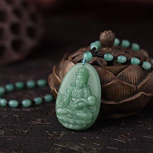 2Pcs New Spring Summer Autumn Winter Long Sweater Chain Obsidian Glass Guanyin Buddha Pendant Necklace Men Women Hanging Jade (Green Goddess Of ()