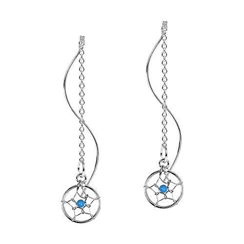 Exotic Dreamcatcher Blue Round Fashion Beads Thread Slide-Through Sterling Silver - Bead Silver Earrings Sterling Dreamcatcher