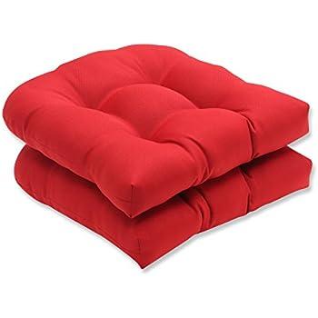Amazon.com: Pillow Perfect Indoor/Outdoor Red Solid Wicker ...