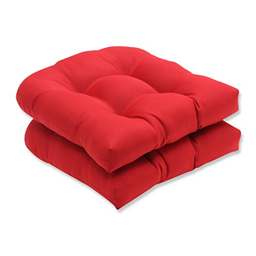 Pillow Perfect Indoor/Outdoor Red Solid Wicker Seat Cushions, 2-Pack (Cushions Chair Wicker Rocking)