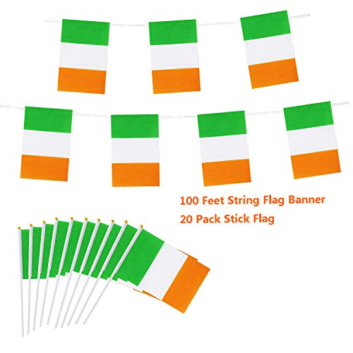 - Cleverwolf 100 Feet Ireland String Flag 76 PCS Pennant Banners Flags and 20 Pack Irish Stick Flag Perfect for Garden,Olympics,World Cup,Sports Event