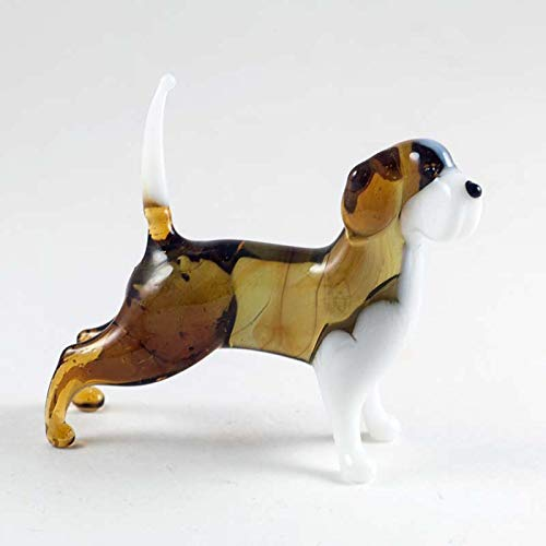 Dog Beagles Small Glass Figurine Hand-Blown Art Collectible Figures