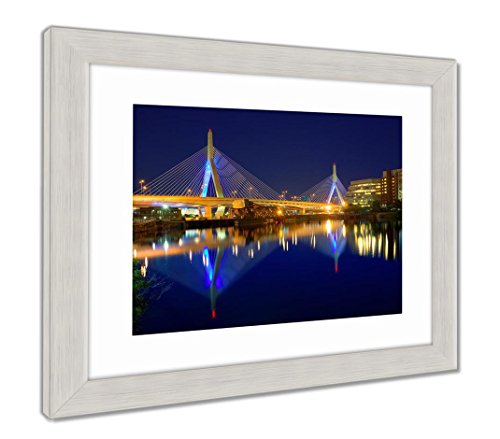 Ashley Framed Prints Boston Zakim Bridge Sunset in Bunker Hill Massachusetts USA, Wall Art Home Decoration, Color, 26x30 (Frame Size), Silver Frame, AG5444125