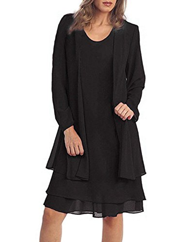 Size Dress Jacket Plus (KENANCY Women's Plus-Size Chiffon Jacket Dress Mother of The Bride Dress Suit-Black-3XL)