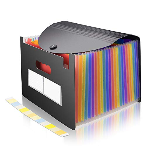 (File Folder Organizer Expanding File Holder 24 Pocket Accordion Folders Expandable Cover Standing Document Holder, A4/Letter Size)