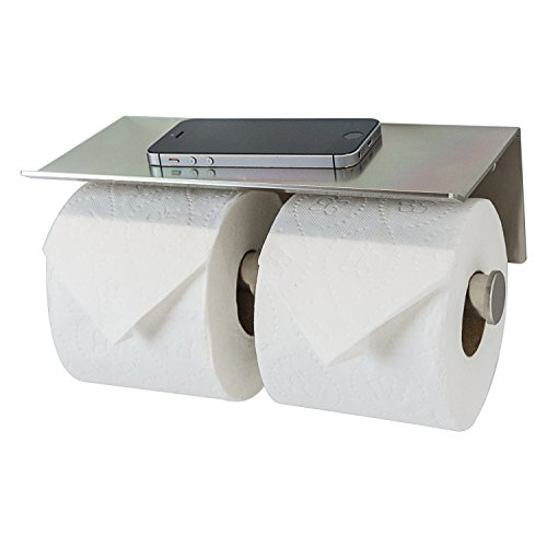 Double Roll Toilet Paper Holder with Phone Shelf - Bathroom Tissue Dispenser - Modern Style (Brushed Nickel)
