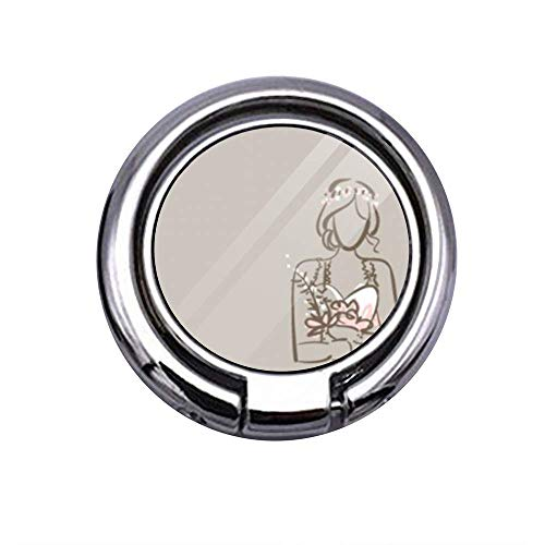 Phone Ring Holder Finger Ring Stand 360 Degree Rotation Thin Universal Phone Ring Holder Kickstand Compatible for Samsung/iPhone(Drawn Bride Prom Dress ()