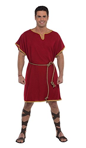 Amscan Spartan Tunic Halloween Costume Accessory for Men, Burgundy, One -