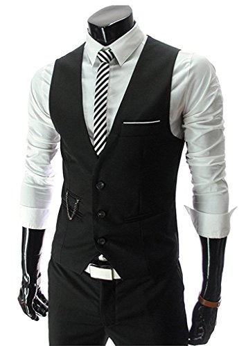 PXS Vest V-Neck Sleeveless Slim Fit Jacket Men Business Waistcoat (Black, (Mens Vest)
