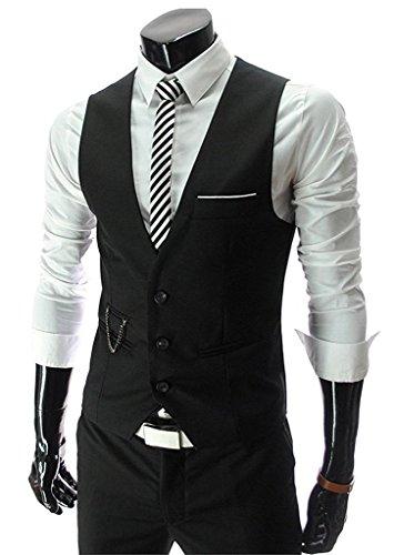 PXS Vest V-Neck Sleeveless Slim Fit Jacket Men Business Waistcoat (Black, (Mens Vest)