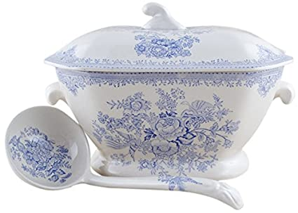 Pottery & China Burleigh Blue Calico Tureen