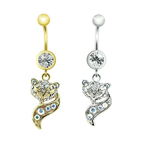 Dynamique Gem Paved Fox Tail Charm Dangle 316L Surgical Steel Belly Button Ring (Sold Per Piece)
