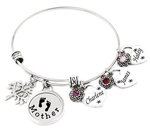be288c92be659 Mothers Bangle Bracelet, Children's Names, Birthstones Personalized  Engraved Stainless Steel