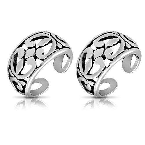WithLoveSilver 925 Oxidized Sterling Silver Filigree Cut Out Floral Bali Design Ear Cuffs - Cuffs Oxidized Ear