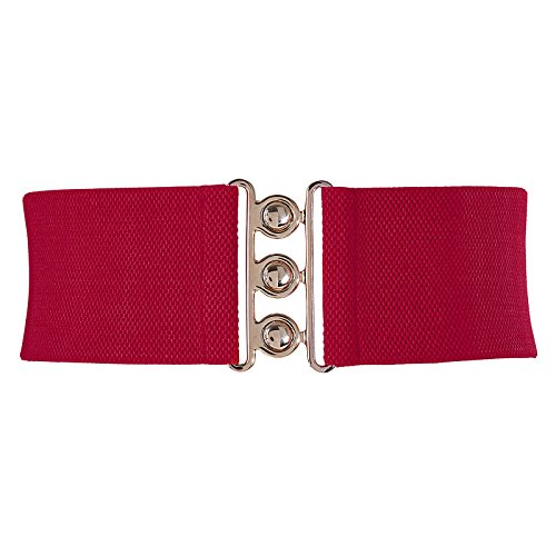 (Women's Wide Hook Stretchy Elastic Waist Corset Belt for Dress Red Size M CL8962)
